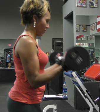 Longtime BDJ Fitness Client Mamie Banks Doing Bicep Curls