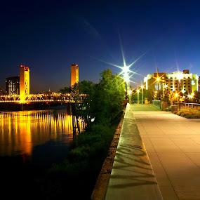 River Walk by Brandon Rose - City,  Street & Park  Street Scenes ( water, lights, bridge, city )