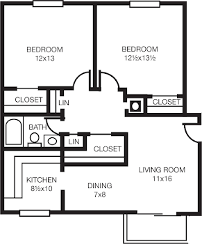 Go to Two Bed, One Bath A Floorplan page.