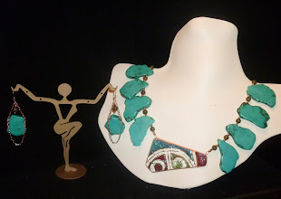 Photo: <BEREHYNYA> {Great Goddess Protectress} unique one-of-a-kind statement jewellery by Luba Bilash ART & ADORNMENT  IN TOTAL ECSTASY - У ПОВНОМУ ЗАХВАТТІ - copper enamel pendant, turquoise, labradorite, rose gold vermeil SOLD/ПРОДАНИЙ
