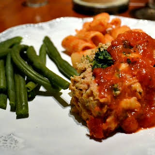 Mozzarella and Spinach Stuffed Chicken Meatloaf.