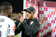 Highlands Park coach Owen da Gama has a harsh word with Orlando Pirates' goal-scorer Tshegofatso Mabasa after Bucs' 1-0 Absa Premiership win at Makhulong Stadium on October 29.