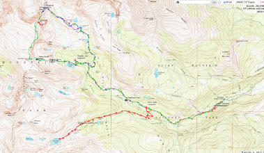 Photo: A topo map of our three day hike in Wild Basin. Red is Day 1, purple is Day 2, and green is Day 3.