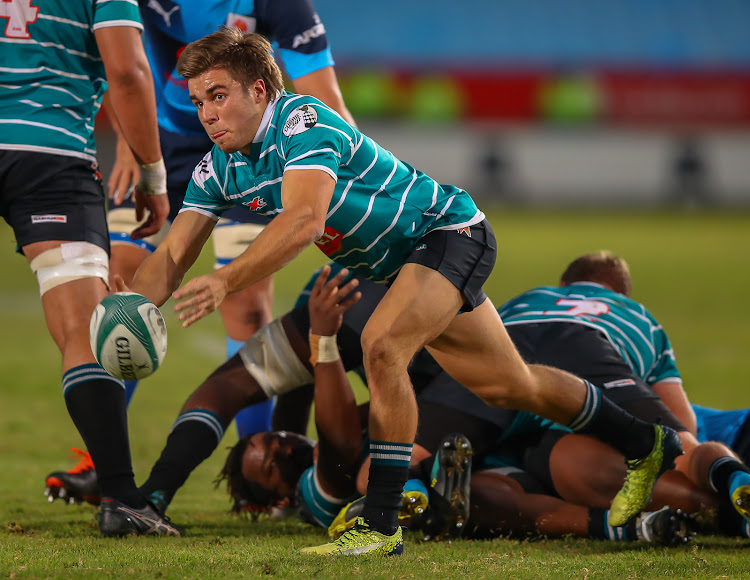 Zak Burger of the Tafel Lager Griquas passes the ball from the base during the Currie Cup match against the Vodacom Blue Bulls at Loftus Versveld in Pretoria on August 03, 2019.