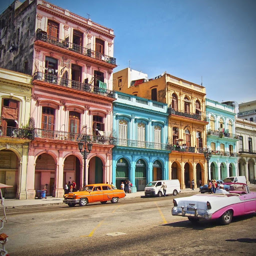 Cuba-Street-with-Cars-and-Colorful-Buildings.jpg - Lovely buildings in Cuba.