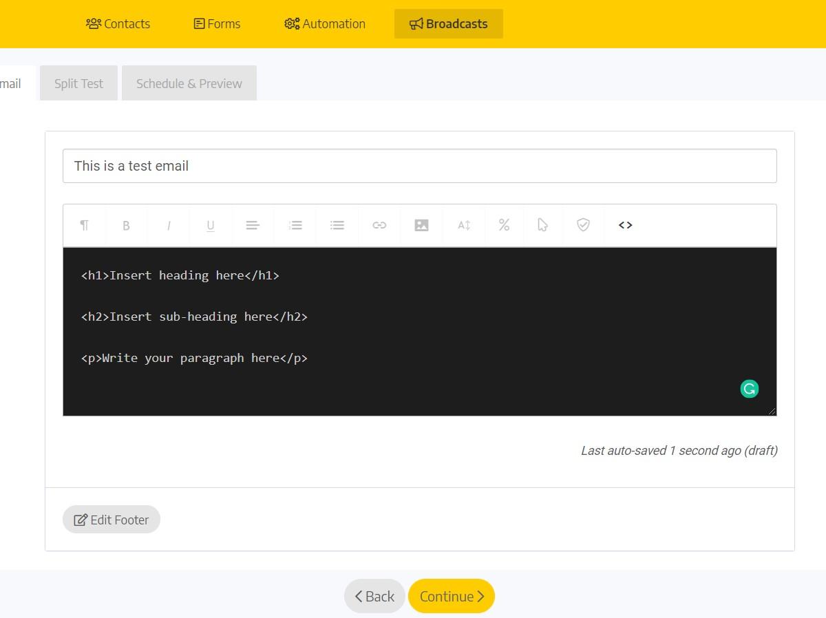 BirdSend HTML Email Customisation Screen