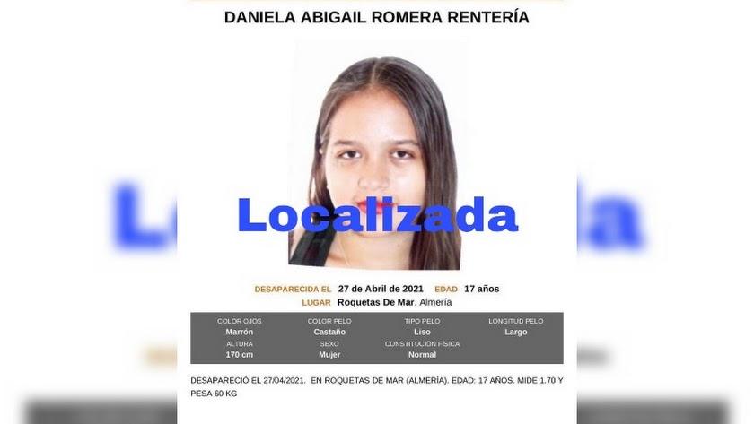 Imagen difundida por la Guardia Civil tras la aparición de la menor.