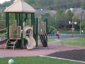 Photo: getting on the play equipment - April 2008