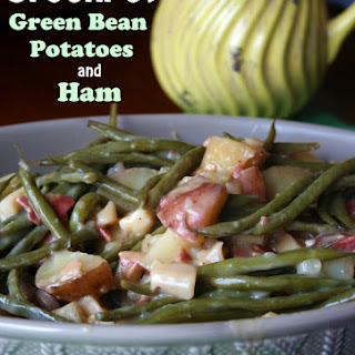 Creamy Crockpot Green Beans Potatoes and Ham