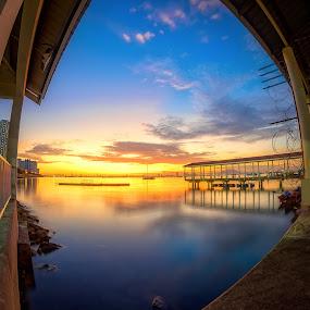 by Ah Wei (Lung Wei) - Landscapes Sunsets & Sunrises ( shore, sunrises, george town, penang bridge, penang island, beach, frontground, landscape, samyang 12mm f2.8, sun, george town penang, karpal singh drive, nature, light, clouds, samyang, fisheye, seashore, paysage, malaysia, seascape, sunlight, samyang 12mm f/2.8 ed as ncs fisheye, persiaran karpal singh, pulau pinang, penang, defish, air, sunrise )