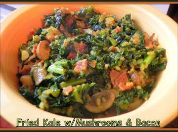 Fried Kale with Mushrooms and Bacon