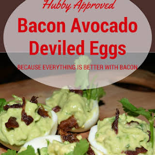 Bacon Avocado Deviled Eggs.