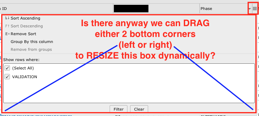 I'd like to be able to drag either left or right bottom part of the box in order to resize it. How do I do this?