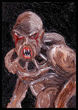Photo: Flukeman. (sold) 2.5 x 3.5 in. Oil on canvas sheet. Sealed with gloss varnish. Signature and title on the back. ©Marisol McKee.