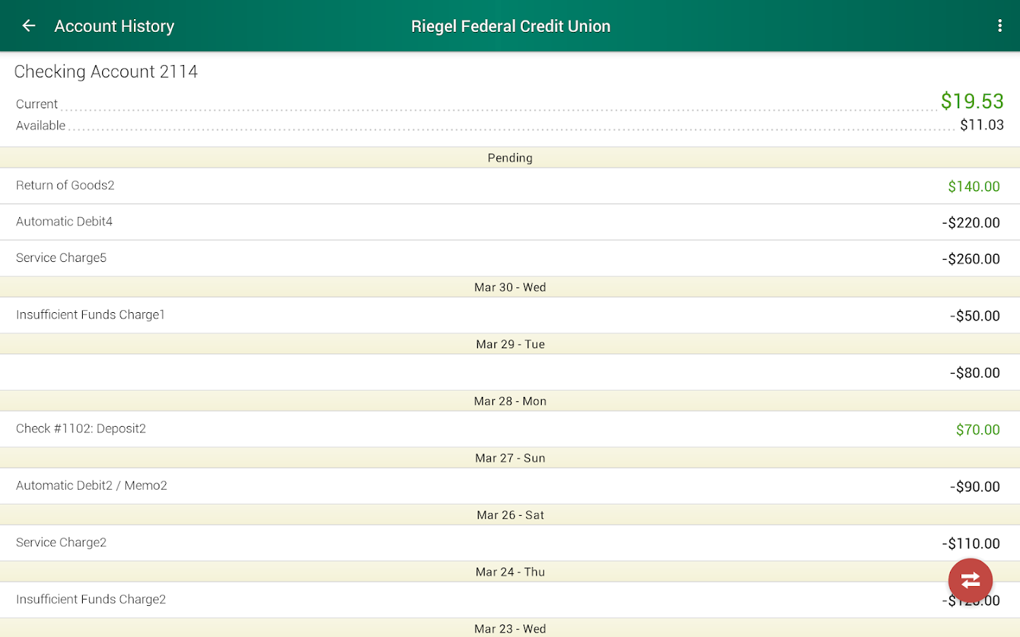 Riegel Federal Credit Union- screenshot