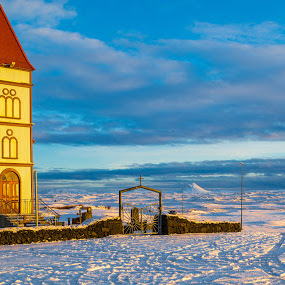 Church by Edvald Geirsson - Landscapes Mountains & Hills ( iceland, blue sky, winer, church, snow, landscape )
