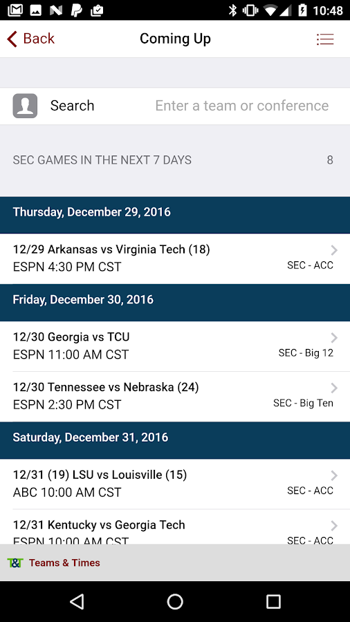 Teams & Times Sports Schedules- screenshot