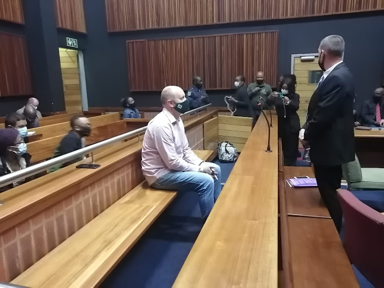 Former VBS Mutual Bank CFO Phillip Truter at the Palm Ridge magistrate's court on Wednesday. He has been jailed after reaching a plea and sentence agreement with the state.