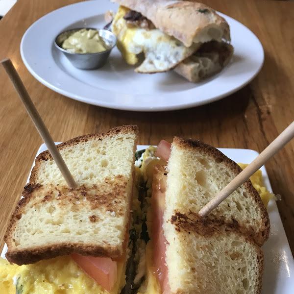 Gluten free Julie Sandwich front and center  With my husbands non Gluten free sandwich