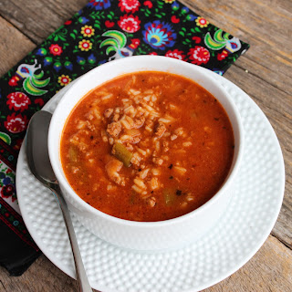Slow Cooker Stuffed Bell Pepper Soup.
