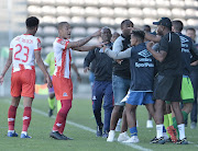 Cape Town City coach Benni McCarthy intervenes during a player scuffle during the Absa Premiership 2018/19 game between Cape Town City and Maritzburg United at Athlone Stadium in Cape Town on 23 February 2019.