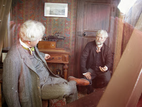 Photo: Eiffel had an apartment at the top of the tower where he entertained guests. It is still up there. These are wax figures of Gustav Eiffel and Thomas Edison sitting in the living room. The tower was actually Eiffel's property.