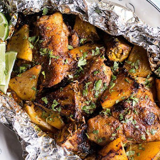 Jerk Chicken and Pineapple Foil Packets