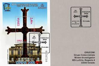 Photo: Matasellos Primer Día de Circulación del sello de la Exposición Filatélica Nacional de Oviedo con la Cruz de la Victoria y el Teatro Campoamor