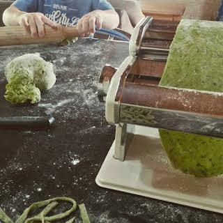 Homemade Kale Pasta.