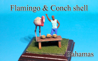 Flamingo and Conch shell -Bahamas-