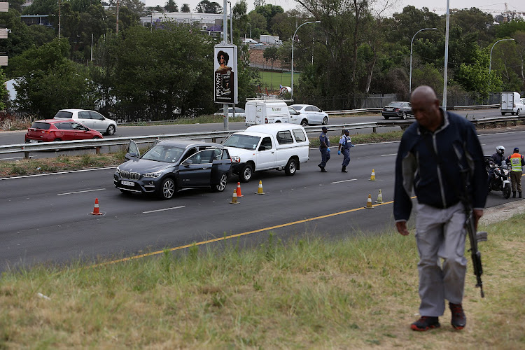 OCTOBER 22, 2018. A shooting occurred on the M1 North highway on Monday' in a suspected robbery attempt. Johannesburg Metro Police Department officers are diverting traffic off the freeway at Jan Smuts Avenue and Empire Road' the city said. It is believed that a Hawks member may have been shot.