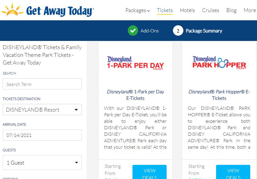 Screenshot of Get Away Today site
