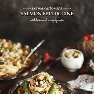 Korma Carbonara Salmon Fettuccine with Herbs and Mongo Sprouts Recipe