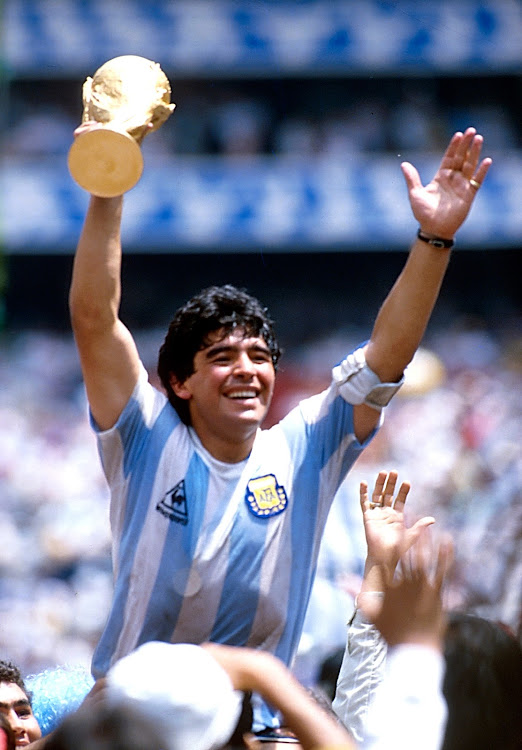 Diego Maradona celebrates Argentina's 1986 World Cup final win over West Germany in Mexico City.