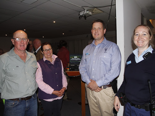 Among the landholders at the rural crime prevention workshop, Anthony and Donna Brennan, with Detective Senior Constable Dave Holmes and Narrabri's Senior Constable Ajarna Imrie.