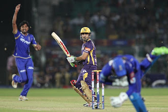Photo: Kolkata Knight Riders captain Gautam Gambhir looks back as Siddharth Trivedi of Rajasthan Royals celebrates Dishant Yagnik of Rajasthan Royals catch during match 8 of the the Pepsi Indian Premier League ( IPL) 2013 between The Rajasthan Royals and the Kolkata Knight Riders held at the Sawai Mansingh Stadium in Jaipur on the 8th April 2013..Photo by Shaun Roy-IPL-SPORTZPICS..Use of this image is subject to the terms and conditions as outlined by the BCCI. These terms can be found by following this link:..http://www.sportzpics.co.za/image/I0000SoRagM2cIEc