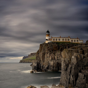 Neist Point by Charlie Davidson - Landscapes Waterscapes ( clouds, scotland, cliffs, clouds and sea, lighthouse, sea, long exposure, seascape, rocks )