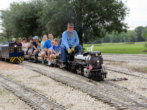 Photo: Doug Blodgett takes his first load of passengers around the track.     HALS Public Run Day 2015-0516 RPW