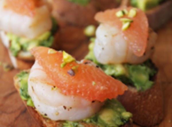 Seared-shrimp Bruschetta With Grapefruit And Avocado Recipe