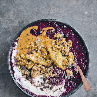 Blueberry Chia Bowl with Warm Banana and Sesame Brittle.