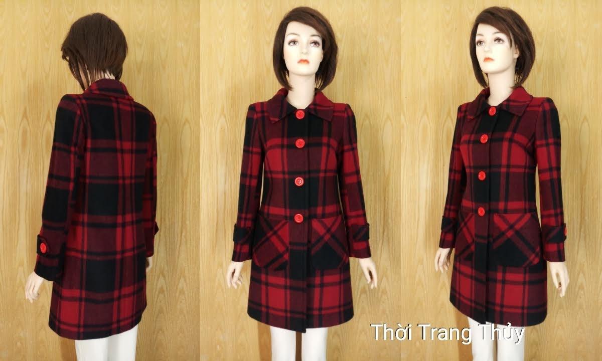 Áo khoác dạ nữ dáng dài kẻ caro đỏ đen V657 thời trang thủy