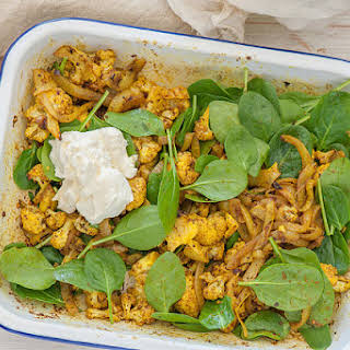 Mike's Spiced Cauliflower & Chickpea Salad with Labneh.