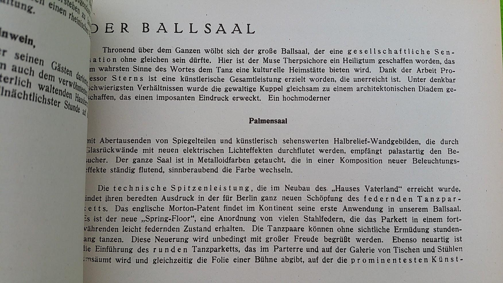Begleitheft zur Eröffnung von Haus Vaterland am Potsdamer Platz, Berlin, 31. August 1928 - Palmensaal