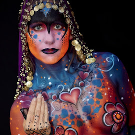 Painted Lady by Brett Styles - People Body Art/Tattoos ( body art, art, woman, paint, glitter,  )