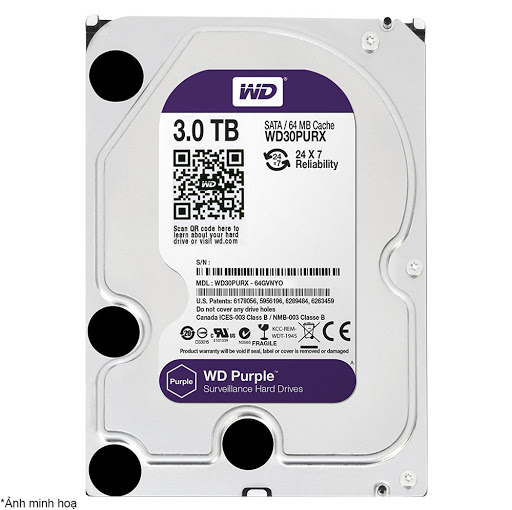 ổ cứng HDD Camera WD Purple 3TB Sata3 5400rpm (WD30PURZ)