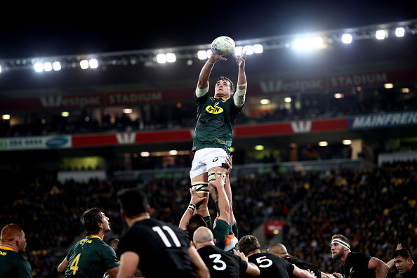 Franco Mostert of South Africa takes the ball in the lineout during The Rugby Championship match between the New Zealand All Blacks and the South Africa Springboks at Westpac Stadium on September 15, 2018 in Wellington, New Zealand.