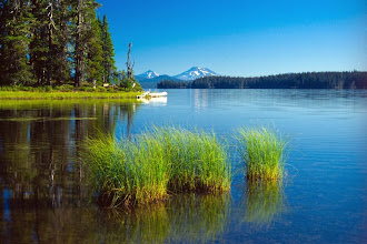 Photo: Waldo Lake and the Three Sisters, Waldo Lake Wilderness, Cascade Mountains, Oregon