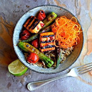 Malaysian Paneer and Vegetable Kebab Bowl with Brown Coconut Rice
