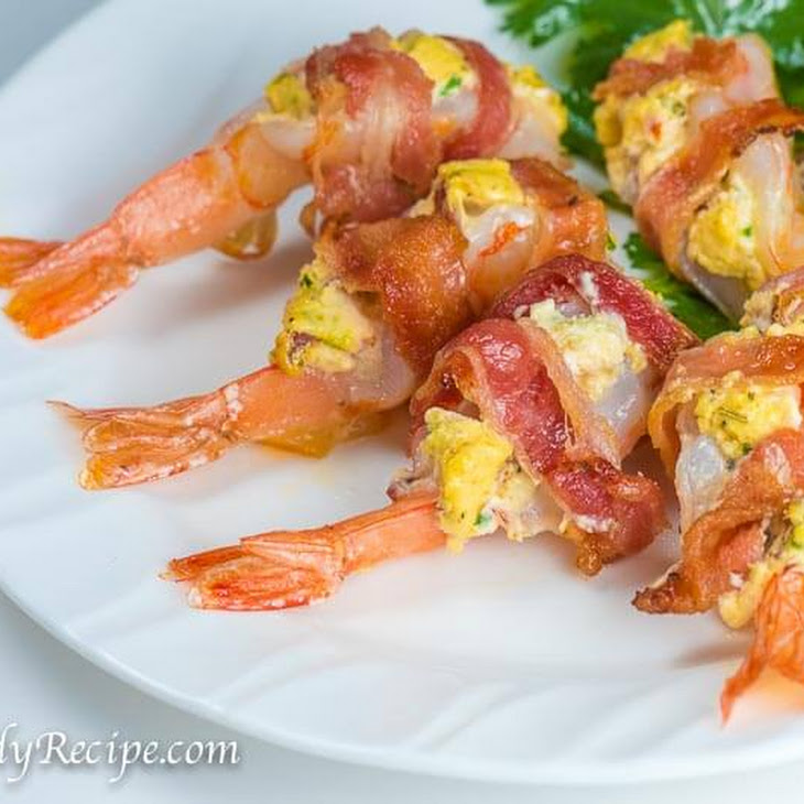 Bacon Wrapped Shrimp with Cream Cheese Stuffing