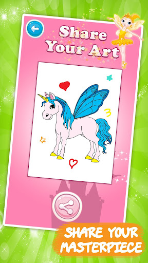 Unicorn coloring book for kids - screenshot